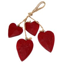 Red Ruby Wooden Hearts on String