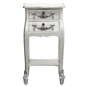 Toulouse Silver 2 Drawer Bedside Table