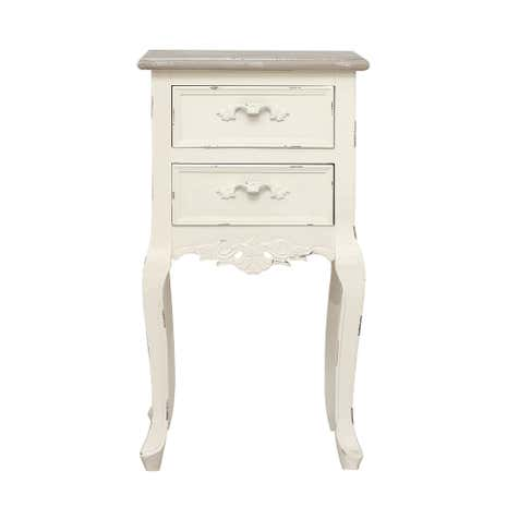 Camille Ivory 2 Drawer Bedside Table
