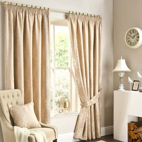 Murano Natural Lined Pencil Pleat Curtain