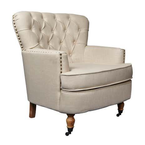 Cream Collette Button Back Armchair Dunelm