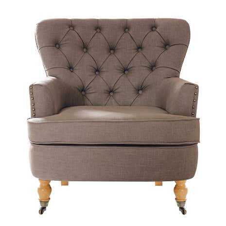 Mink Collette Button Back Armchair | Dunelm