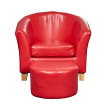 Kids Red Faux Leather Tub Chair and Stool