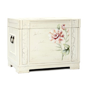 French Rose Hand Painted Storage Chest