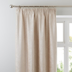 Chenille Cream Lined Pencil Pleat Curtains