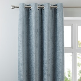 Chenille Duck-Egg Lined Eyelet Curtains