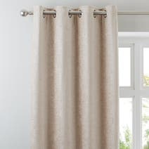 Cream Chenille Lined Eyelet Curtains