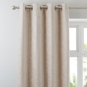 Chenille Cream Lined Eyelet Curtains