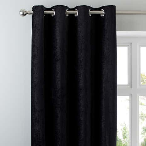 Chenille Black Lined Eyelet Curtains