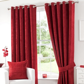 Chenille Red Lined Eyelet Curtains