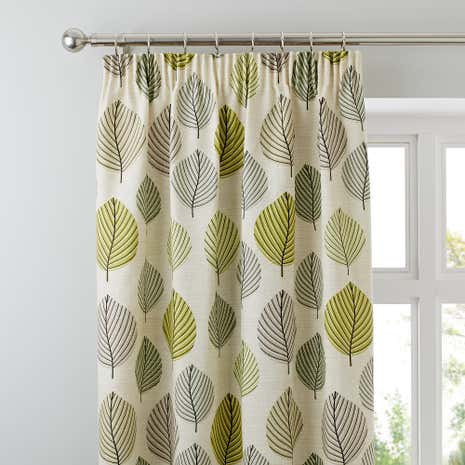 Green Regan Lined Pencil Pleat Curtains