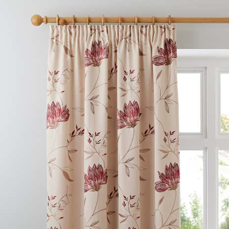 Amelia Red Lined Pencil Pleat Curtains