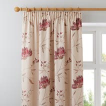Red Amelia Lined Pencil Pleat Curtains
