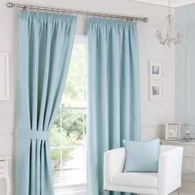 Sorrento Duck-Egg Lined Pencil Pleat Curtains
