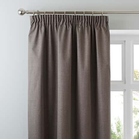 Solar Stone Blackout Pencil Pleat Curtains