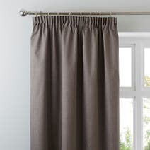 Stone Solar Blackout Pencil Pleat Curtains