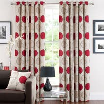 Red Louisa Lined Eyelet Curtains