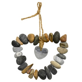 Natural Pebble Heart Shaped Wall Hanging