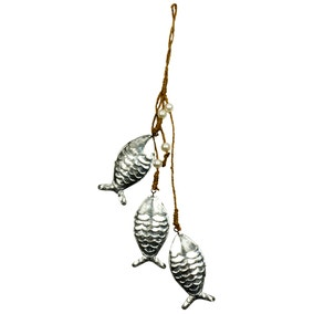 Metal Fishes on a Rope Wall Hanging