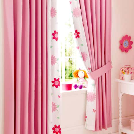 Kids Cerise Flower Garden Blackout Pencil Pleat Curtains
