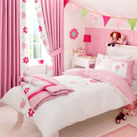 Kids Cerise Flower Garden Duvet Cover Set
