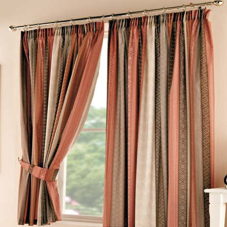 Mizar Terracotta Pencil Pleat Curtains
