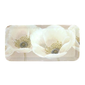 Neutral Flower Small Serving Tray