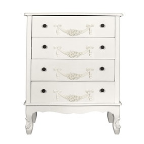 Toulouse White Wide 4 Drawer Chest