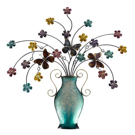 Flowers In Vase Metal Wall Art