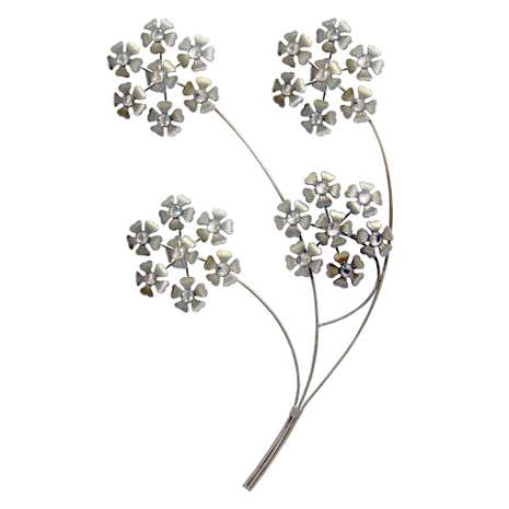 Silver Jewelled Hydrangea Heads Wall Art