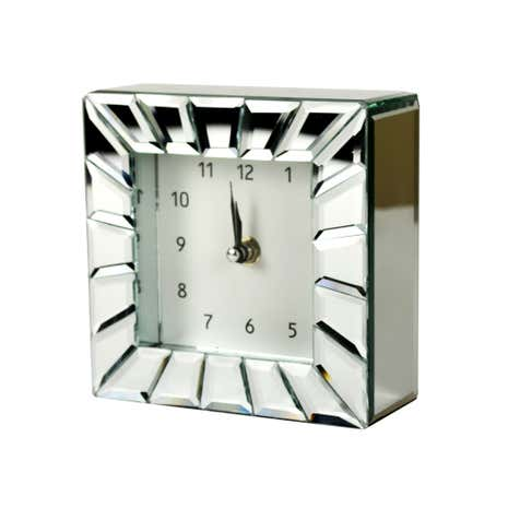Blue Deco Glass Panelled Mirror Clock