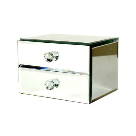 Blue deco mirrored jewellery box dunelm for Mirror jewellery box