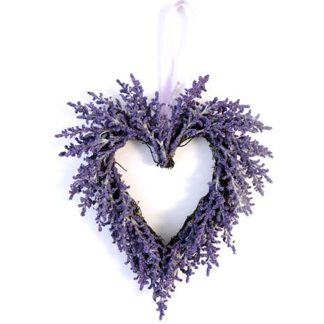 Artificial Lavender Twig Hanging Heart