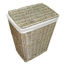 Grey Split Willow Laundry Hamper