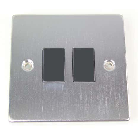 2 Gang 2 Way Brushed Chrome Light Switch