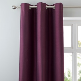 Nova Aubergine Blackout Lined Eyelet Curtains