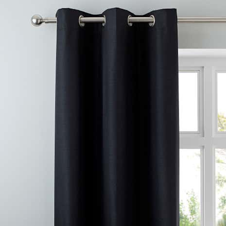 Nova Black Blackout Lined Eyelet Curtains