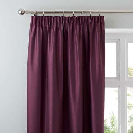 Nova Aubergine Blackout Pencil Pleat Curtains
