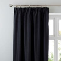 Black Nova Blackout Pencil Pleat Curtains