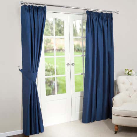 Good Nova Navy Blackout Pencil Pleat Curtains