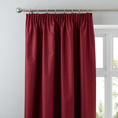 Nova Red Blackout Pencil Pleat Curtains