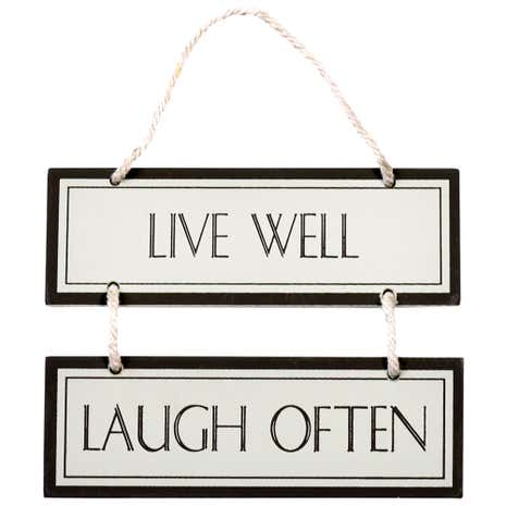 Colonial Live Well Laugh Hanging Sign
