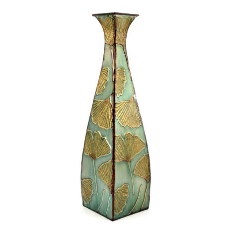Global Fusion Tall Metal Ginko Vase