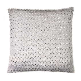 Sequinned Grey Faux Fur Cushion