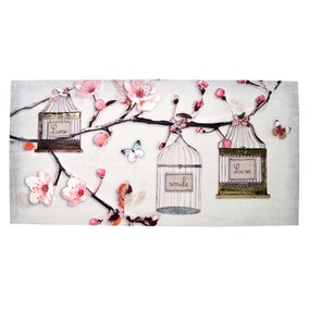 Pink Blossom Branch with Birdcages Printed Canvas