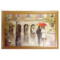 Couple with Red Umbrella Framed Print