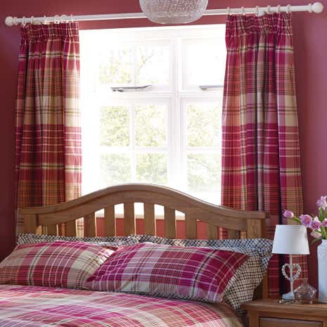 Pink Calie Check Thermal Pencil Pleat Curtains
