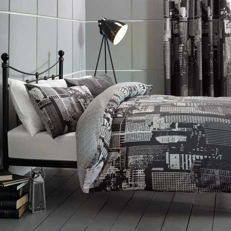 City Scene Black Duvet Cover and Pillowcase Set