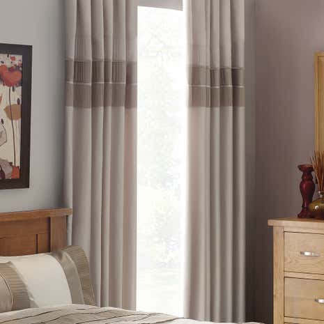 Latte Clermont Thermal Pencil Pleat Curtains