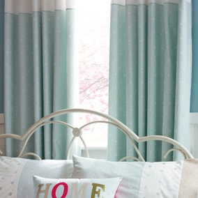 Country Spot Duck-Egg Thermal Pencil Pleat Curtains